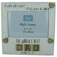 """Dad Photo Frame The Worlds Best Dad Fathers Day Gift Tile Art Wood Cream 6x4"""""""