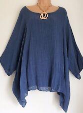 New Lagenlook Denim Blue Loose cotton Kaftan Tunic Top Onesize 18 20 22 24