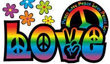 Blumen Aufkleber Hippie Blumen Autoaufkleber Flower Power: Love&Peace 04-Rainbow