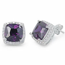 CUSHION CUT FACETED AMETHYST & WHITE CZ  .925 Sterling Silver Earring