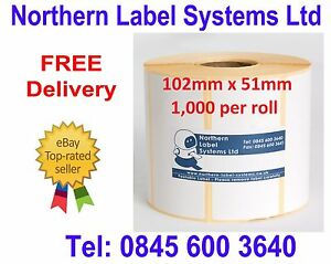 102mm x 51mm WHITE Direct Thermal Labels 1,000 per roll for Zebra type printer