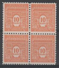 "FRANCE STAMP TIMBRE N° 629 "" ARC TRIOMPHE 10F 1944 BLOC DE 4 "" NEUF xx TTB K360"