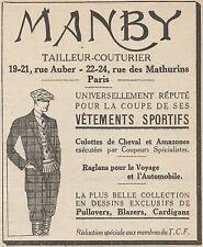 Z8660 MANBY tailleur-couturier - Pubblicità d'epoca - 1926 Old advertising