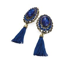 Burnished Gold Coloured Royal Blue Thread Tassel Drop Earrings Fashion Jewellery