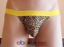 Nuevo Hombre Niño Sexy Tanga Calzoncillos Ropa interior de la piel de leopardo Pantalones Talla M.