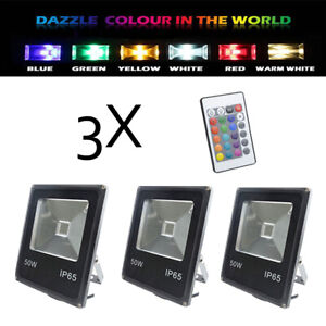 3X RGB Flood Light 50W floodlight LED Remote Outdoor 16 Color Garden AU Plug