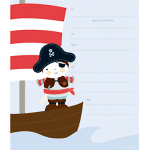 Pirate Ship Birthday Party Invitations 25 pcs plus stickers