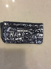 Victoria's Secret Black Silver Sequence Makeup / Clutch Purse/bag New $45