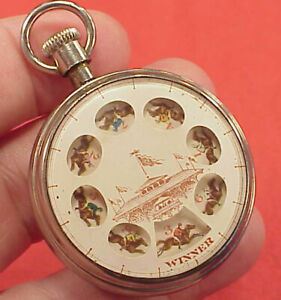 RARE POCKET WATCH HORSE RACE GAME TRADE STIMULATOR GAMBLING GAME DEVICE