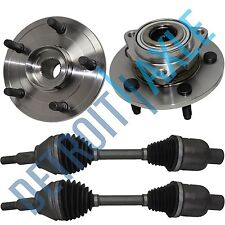 2 NEW Front Wheel Hub Bearing NO ABS + 2 CV Axle Shafts 4WD for 02-05 RAM