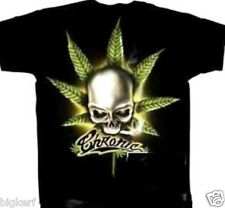 CHRONIC REEFER SKULL  BLACK  TEE SHIRT  100%  COTTON   2-SIDED DESIGN - MEDIUM