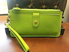 Lime Green Wallet Wristlet - Leather