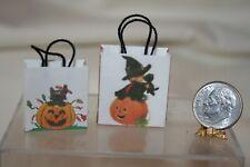 Miniature Dollhouse Pair Halloween Trick or Treat Bags w CUTE Graphics 1:12 NR