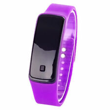 Ultra Fine Unisexe Dépôt Bracelet Montre Silicone LED Digital Femme Homme VIOLET