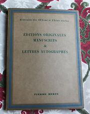 1958 Catalogue 56 Berès éditions originales Manuscrits autographes Bibliophilie