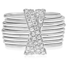 14K White Gold Pave Diamond X Stacked Bands Wide Right Hand Cocktail Ring