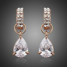 Rose Gold Plated Earring Rose Gold Dangle Clear Cubic Zirconia CZ Drop Earrings