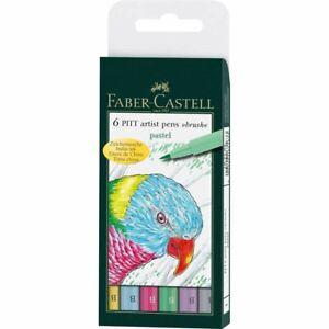 Faber Castell Pitt Artist Brush Pens Pastel Colours Set of 6