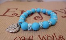 Blue Bead & Fabric Elastic Bracelet Child's Small Adult Heart Motif 5cm diameter