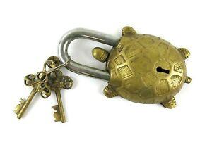 Brass Turtle Padlock Vintage Style Lock w/ 2 Keys
