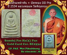 Phra Somdej LP Pae 5 Pan Certificate card Wat Pikulthong Old Thai Amulet Buddha-