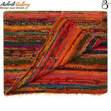 Indien Fleckerl Handweb Teppich Kufstein multicolor aus Baumwolle Handwebteppich