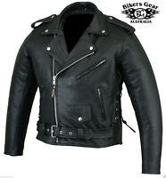 Australian Bikers Gear Men's Brando Premium Leather Motorcycle Jacket CE Armour
