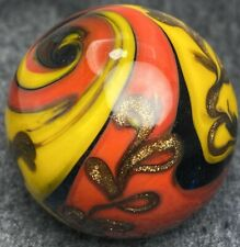 Handmade Marble Gold Stone ! ( Spectacular Flame ) 1 1/2 + Inches (#2)