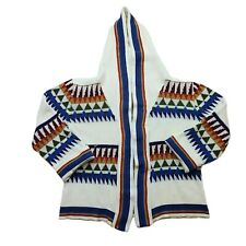 Vintage 80s 90s Cardigan Sweater Womens Large Aztec Open Front Hooded Vaporwave