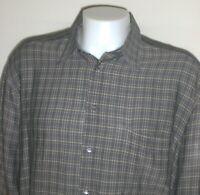 Ermenegildo Zegna Button Up Shirt Mens XXL Gray Check Made in Italy Linen Cotton