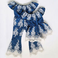 Toddler Baby Girl Floral Embroidery Lace One Piece Romper Jumpsuit Kids Dress AU