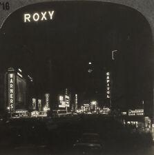 Keystone Stereoview Broadway at Night, New York City, NY from 1930's T400 Set #B