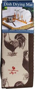Envision Home Brown Rooster Dish Drying Mat 16 x 18