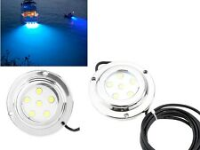 2pcs CREE Steel 6W Blue LED Marine Light LED Underwater Boat Light Waterproof