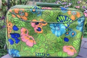 Vintage Retro Mod Luggage Suitcase Travelware Colorful Floral Flower Japan