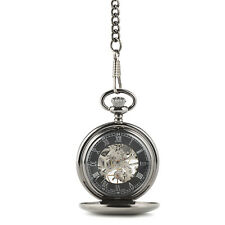 Pocket Watch Gunmetal Grey Skeleton Mechanical