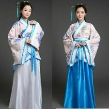 Chinese Tang Han Fu Suit Women Long Sleeve Folk Dance Dress Costume Ancient Blue
