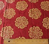 Rare French Antique Turkey Red Resist Dyed Cotton Medallion Fabric c1820-1850