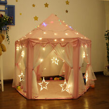 Children Pop Up Play Tent Princess Playhouse Wigwam Party Gift with LED Light AU