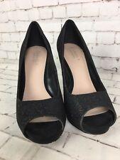 Women's CARVELA Black Sparkly Heeled Peep Toe Shoes Size 38 / UK 5