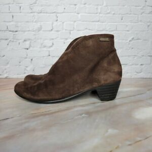 Mephisto Suede Ankle Bootie Boots Front V-Cut Side Zip Womens Size 7.5 Brown