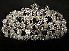 NEW Beauty Pageant Flower Floral Pearl Rhinestone Bridal Wedding Prom Hair Tiara