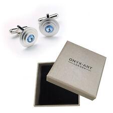 Mens Sapphire Crystal Circular Cufflinks & Gift Box By Onyx Art