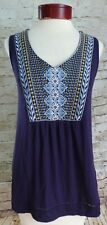 Knox Rose Dark Purple Blue Yellow Neckline Floral Tank Top Women's Size XSMALL
