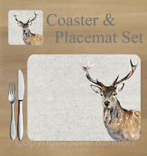 Stag,  placemat and coaster set    by Jane Bannon
