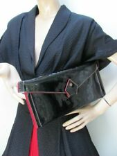"VINTAGE Scarce 1940's WET-SHINE Black PATENT & CHERRY-RED FELT CLUTCH by ""JOSEF"""
