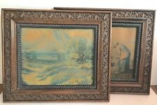 Antique Ornate Carved Wood Frames Photos 2 ~ Landscape & Women Harvesting Crops