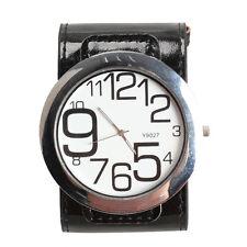 Fashion Men Large Face Dial Wristwatch Quartz Leather Strap Watch Gift Black