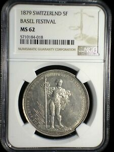 Switzerland 1879 Shooting Thaler *NGC MS-62* Basel Festival 5 Francs RARE