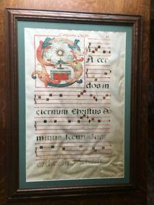 LARGE ILLUMINATED CORPUS CHRISTI MANUSCRIPT LEAF 17TH-19TH CENTURY VELLUM